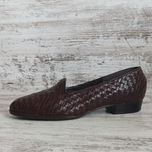 ⚄Vintage Selby Brown Woven Leather Flats